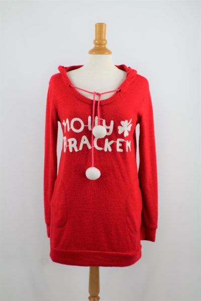Robe pull de Noël MOLLY BRACKEN Rouge pompons blancs