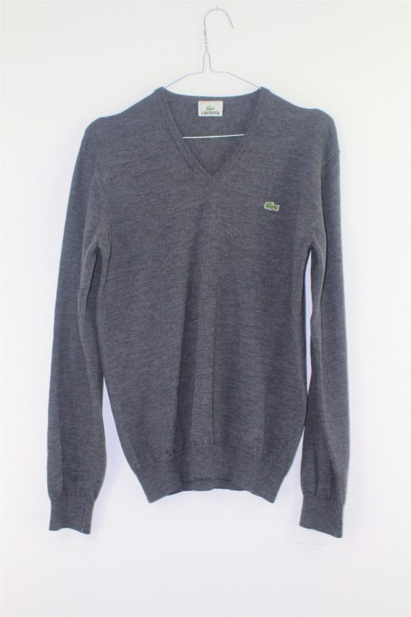 Pull gris col V 100% pur laine vierge LACOSTE taille 2 taille M
