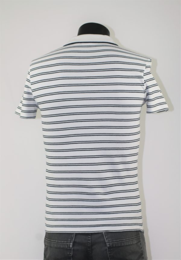 Polo homme LACOSTE Blanc à rayures marine
