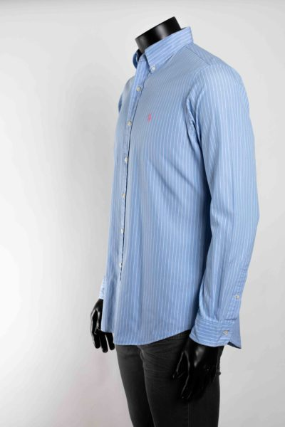 Chemise bleue rayée blanche manches longues POLO RALPH LAUREN taille 34 -3-