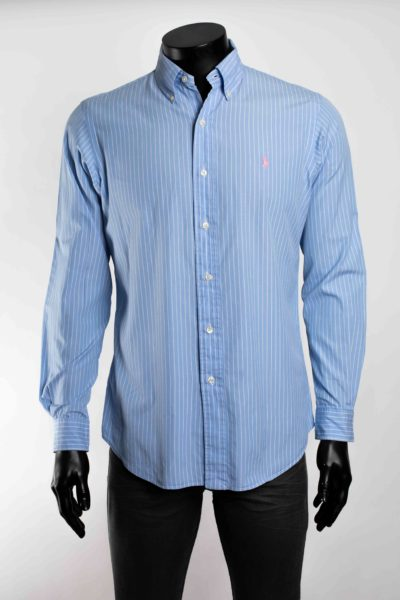 Chemise bleue rayée blanche manches longues POLO RALPH LAUREN taille 34 -2-