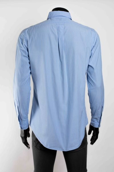 Chemise bleue rayée blanche manches longues POLO RALPH LAUREN taille 34 -4-