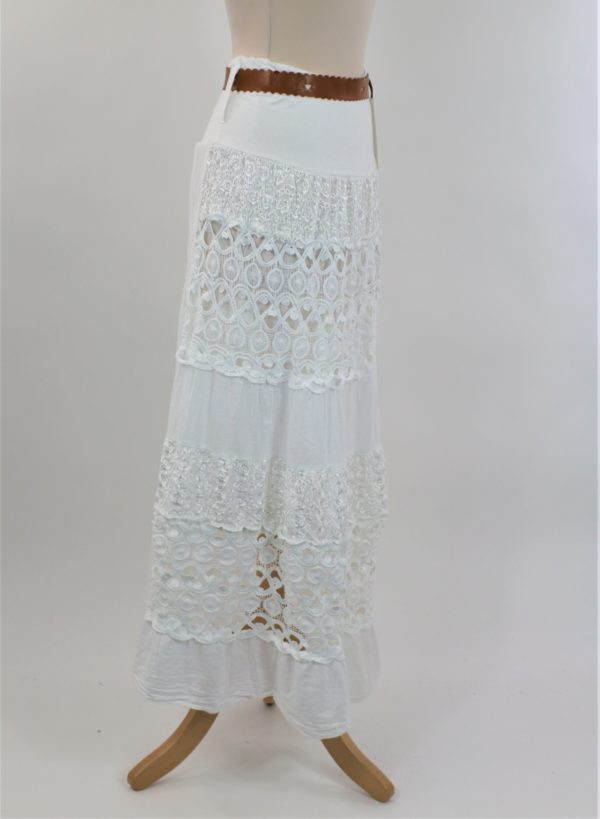jupe longue broderie blanche