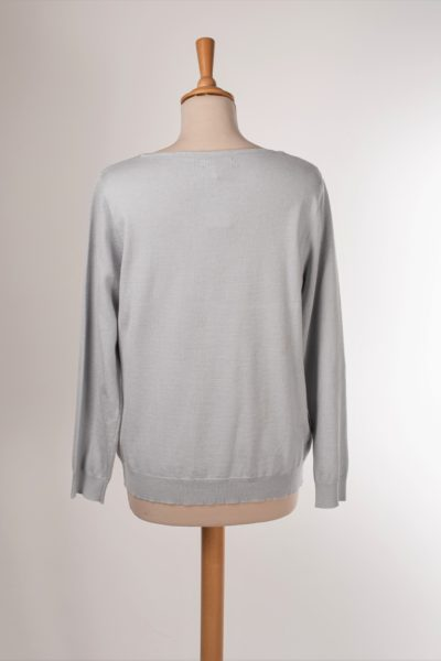 Pull gris clair fin femme occasion